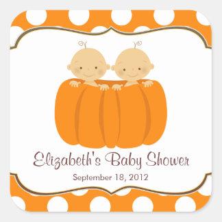 Cute Twin Boys Pumpkin Baby Shower Square Sticker! Square Sticker