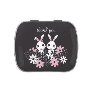 Cute Twin Bunny Kids Personalized Pretty Black Jelly Belly Tin