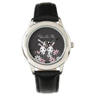 Cute Twin Bunny Kids Personalized Pretty Black Wristwatches