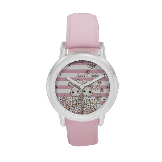 Cute Twin Bunny Pastel Pink Stripes Girl Name Watch