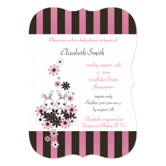 Cute Twin Bunny Pink and Black Girl Baby Shower 5x7 Paper Invitation Card
