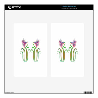 Cute Twin Flowers Illustration Art on 100 gifts Kindle Fire Skins