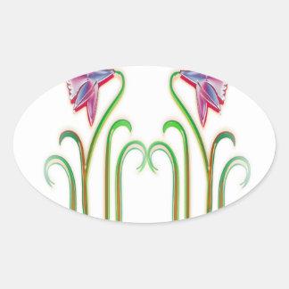 Cute Twin Flowers Illustration Art on 100 gifts Oval Sticker