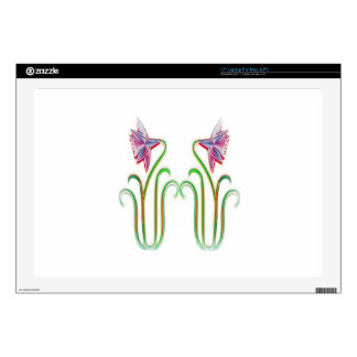 "Cute Twin Flowers Illustration Art on 100 gifts Skin For 17"" Laptop"