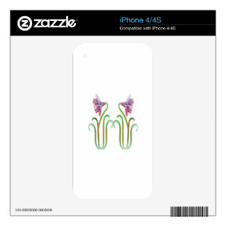 Cute Twin Flowers Illustration Art on 100 gifts Skin For iPhone 4S