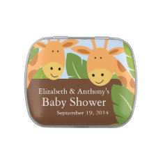 Cute Twin Giraffe Baby Shower Favor Candy Tin at Zazzle