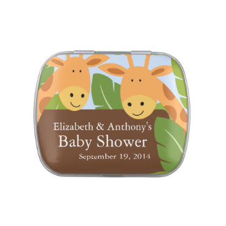 Cute Twin Giraffe Baby Shower Favor Candy Tin
