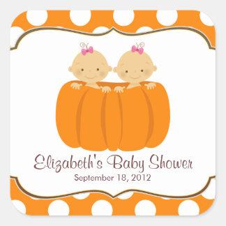 Cute Twin Girl Pumpkin Baby Shower Square Sticker!