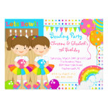 Cute Twin Girls Bowling Birthday Party Invitation