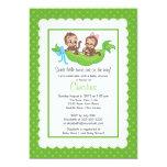 "Cute Twin Monkeys Pea Pod Baby Shower Invitations 5"" X 7"" Invitation Card"