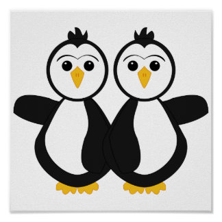Cute Twin Penguins Poster