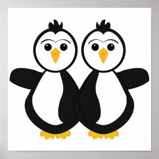 Cute Twin Penguins Print