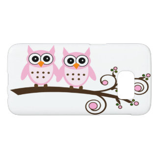 Cute Twin Pink Owls on Brown Swirly Tree Branch Samsung Galaxy S7 Case