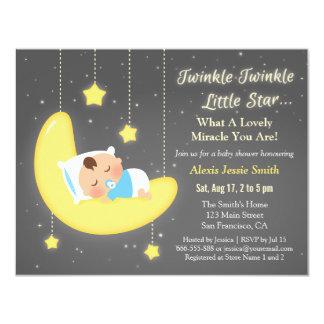 Cute Twinkle Twinkle Little Star Baby Shower 4.25x5.5 Paper Invitation Card