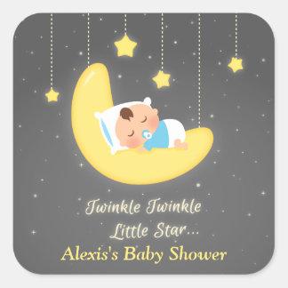 Cute Twinkle Twinkle Little Star Baby Shower Square Sticker