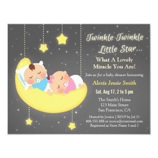 Cute Twinkle Twinkle Little Star Twins Baby Shower Card