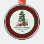 Cute Twins 1st Christmas Personalized Ornaments