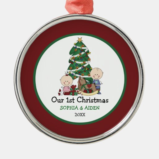 Cute twins st christmas personalized round metal
