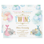 Cute Twins Boy Girl Elephant Baby Shower Sprinkle Invitation