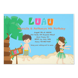 Cute Twins Boy & Girl Luau Birthday Invitation