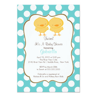 Cute Twins Chick Baby Shower Invitation Blue Boys