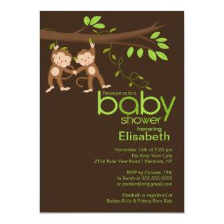 Cute Twins Jungle Monkey Baby Shower Card
