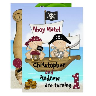 Cute Twins Little Buccaneer ~ Pirate 1st Birthday Invitation