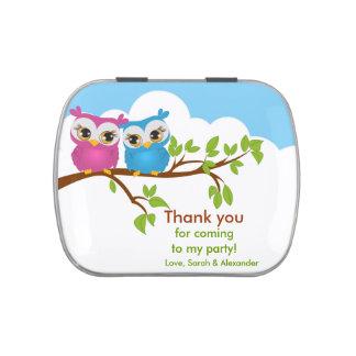 Cute Twins Owls on Branch Birthday Candy Tin