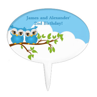 Cute Twins Owls on Branch Boys Cake Topper