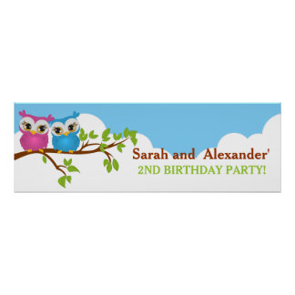 Cute Twins Owls on Branch Girl Boy Birthday Banner Poster