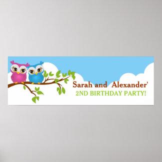 Cute Twins Owls on Branch Girl Boy Birthday Banner Poster