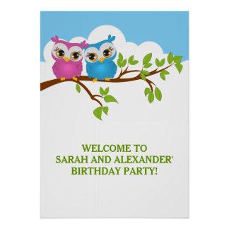 Cute Twins Owls on Branch Girl Boy Birthday Poster