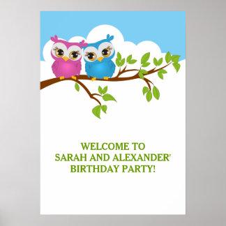 Cute Twins Owls on Branch Girl Boy Birthday Poster