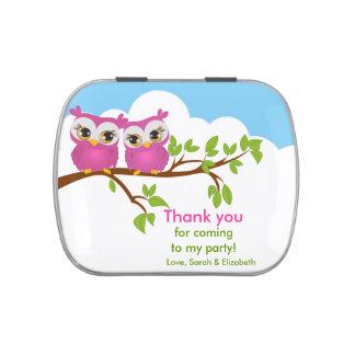 Cute Twins Owls on Branch Girls Birthday Candy Tin