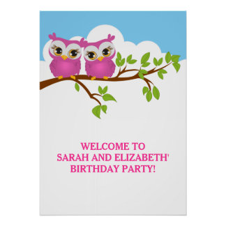 Cute Twins Owls on Branch Girls Birthday Poster