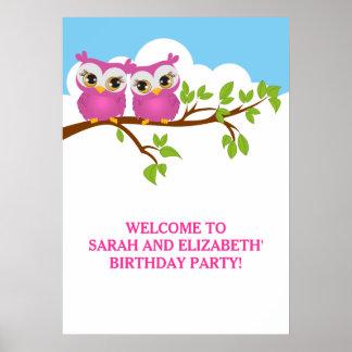 Cute Twins Owls on Branch Girls Birthday Poster
