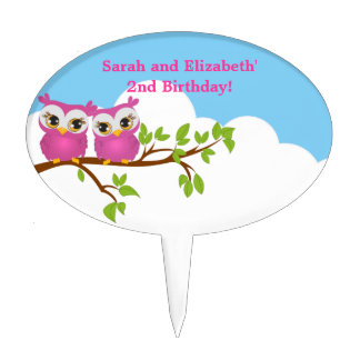 Cute Twins Owls on Branch Girls Cake Topper