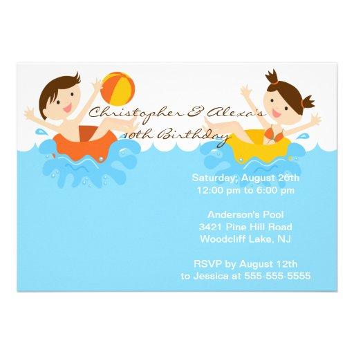 CUTE Twins Pool Party Birthday Invitation