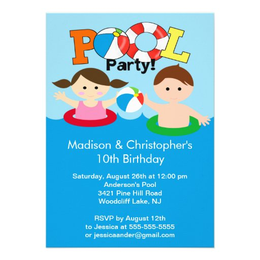 CUTE Twins Pool Party Birthday Invitation Girl Boy
