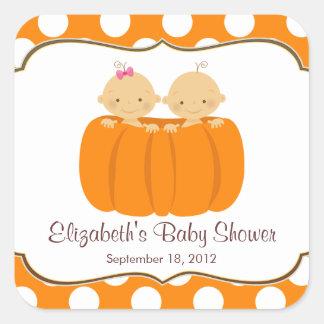 Cute Twins Pumpkin Baby Shower Square Sticker! Square Sticker