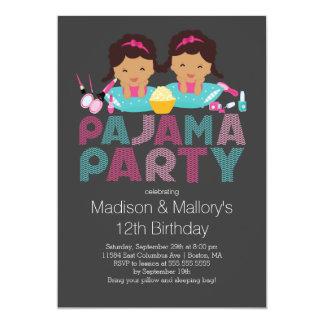 Cute TWINS Tween Pajama Birthday Party Invitation