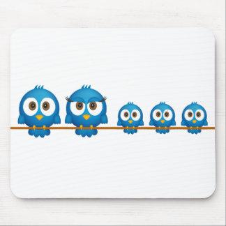 Cute twitter bird family cartoon mouse pad