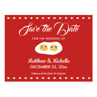Cute Two Become One Save The Date Sweet Wedding Postcard