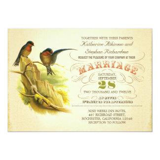 cute two birds vintage wedding invitation