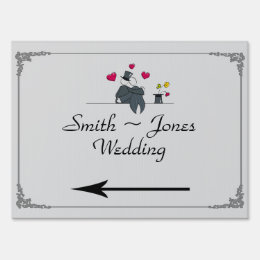 Cute Two Grooms Cartoon Gay Wedding Direction Sign