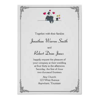Cute Two Grooms Cartoon Gay Wedding Invitation