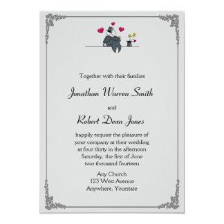 Cute Two Grooms Cartoon Gay Wedding Invitation