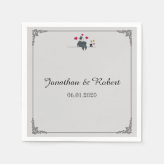 Cute Two Grooms Cartoon Gay Wedding Napkin