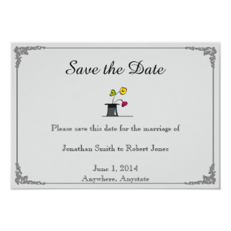 Cute Two Grooms Cartoon Gay Wedding Save the Date Card