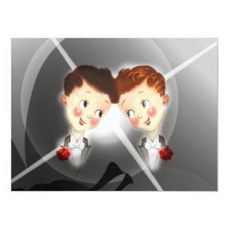 Cute Two Grooms Gay Wedding Invitation